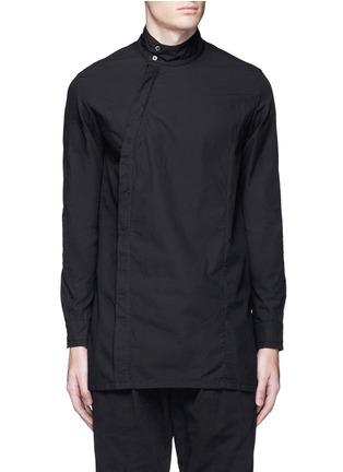 Main View - Click To Enlarge - The Viridi-anne - Asymmetric button collar cotton shirt