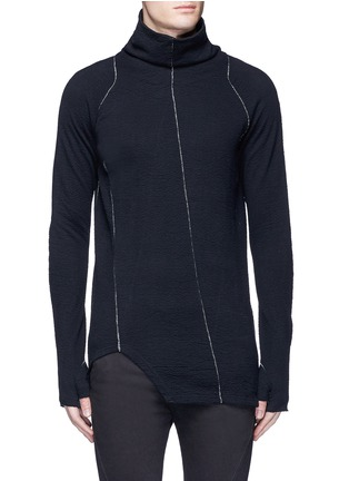 Main View - Click To Enlarge - The Viridi-anne - Contrast seam cotton turtleneck sweater