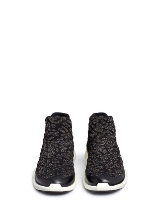 Front View - Click To Enlarge - Ash - 'Quid' geometric sole cheetah jacquard knit sneakers