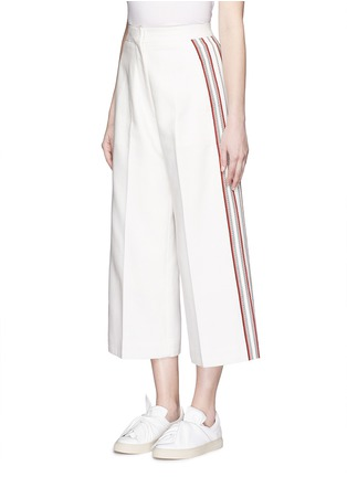 Front View - Click To Enlarge - Hillier Bartley - Stripe embroidery cropped wide leg pants