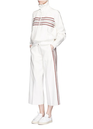 Figure View - Click To Enlarge - Hillier Bartley - Stripe embroidery cropped wide leg pants