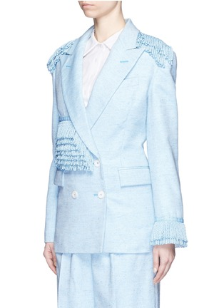 Front View - Click To Enlarge - Hillier Bartley - Tassel trim double breasted tweed blazer
