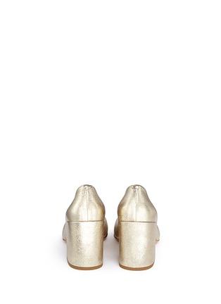 Back View - Click To Enlarge - Dries Van Noten - Chunky heel metallic leather pumps