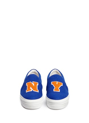 Figure View - Click To Enlarge - Joshua Sanders - 'NY Basketball' felt skate slip-ons