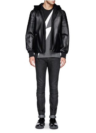 Front View - Click To Enlarge - Neil Barrett - Washed rib-knit panel skinny jeans