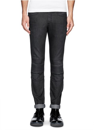 Main View - Click To Enlarge - Neil Barrett - Washed rib-knit panel skinny jeans