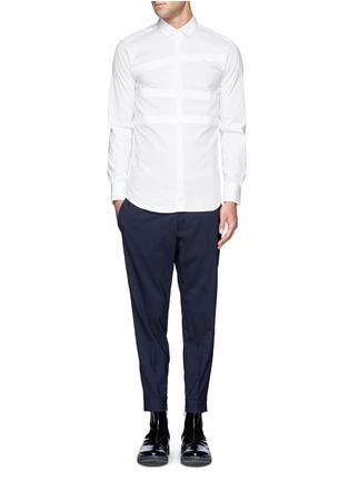 Figure View - Click To Enlarge - Neil Barrett - Irregular stripe panel shirt