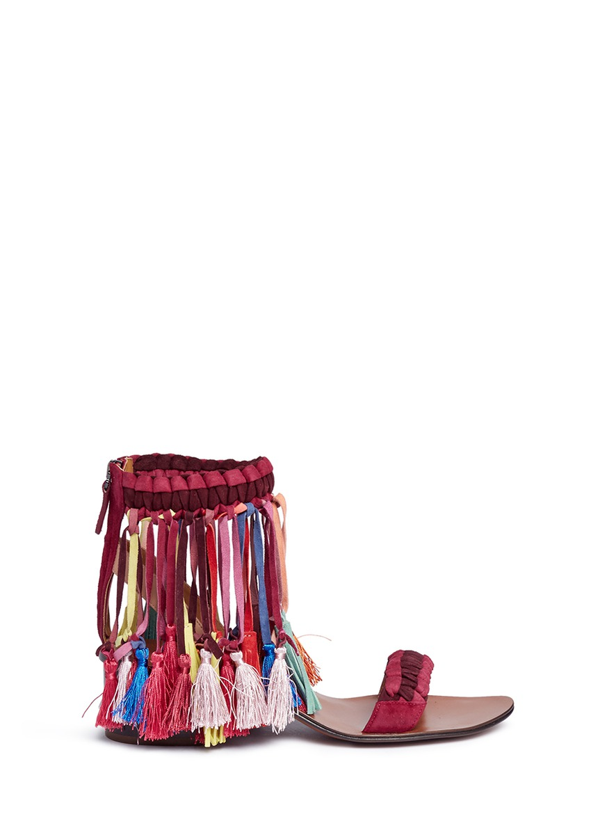Marvin tassel woven suede sandals by Chloé