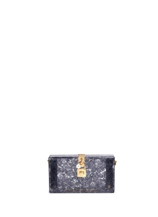 Main View - Click To Enlarge - Dolce & Gabbana - 'Dolce Box' inset Taormina lace Plexiglas clutch