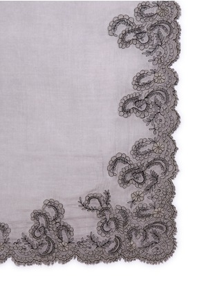 Detail View - Click To Enlarge - Faliero Sarti - Floral embroidered border cotton-blend scarf