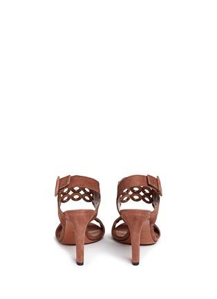 Back View - Click To Enlarge - Alaïa - Eyelet slingback suede sandals