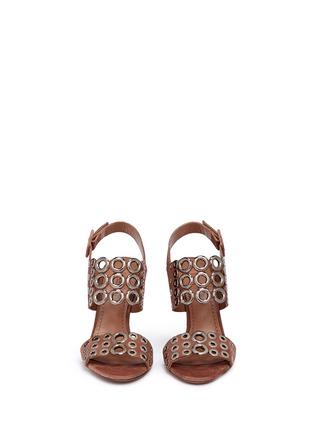 Front View - Click To Enlarge - Alaïa - Eyelet slingback suede sandals