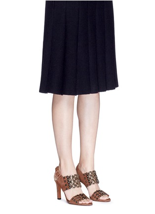 Figure View - Click To Enlarge - Alaïa - Eyelet slingback suede sandals