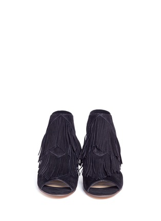Front View - Click To Enlarge - SAM EDELMAN - 'Elaine' fringe suede peep toe sandals