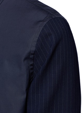 Detail View - Click To Enlarge - Marni - Layered pinstripe sleeve cotton shirt
