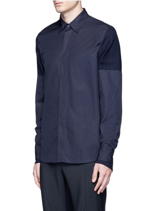 Front View - Click To Enlarge - Marni - Layered pinstripe sleeve cotton shirt