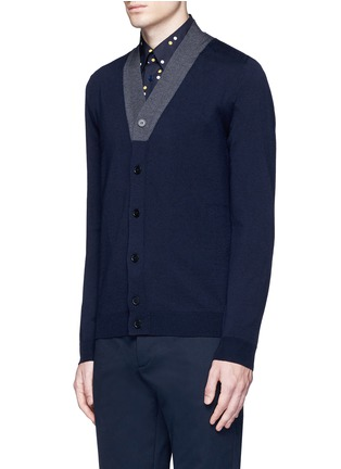 Front View - Click To Enlarge - Marni - Contrast collar virgin wool cardigan