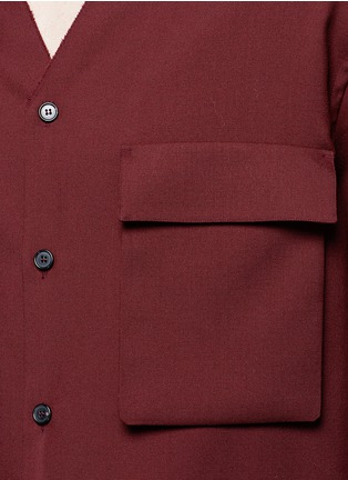 Detail View - Click To Enlarge - Marni - Raw edge neckline tropical wool shirt