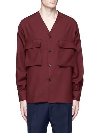 Main View - Click To Enlarge - Marni - Raw edge neckline tropical wool shirt