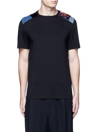 Main View - Click To Enlarge - MAISON MARGIELA - Velvet and denim patchwork T-shirt