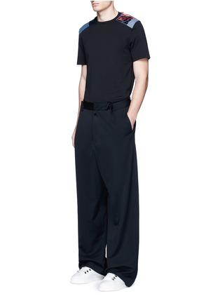 Figure View - Click To Enlarge - MAISON MARGIELA - Velvet and denim patchwork T-shirt