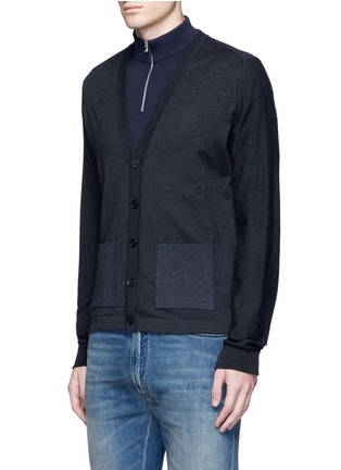 Front View - Click To Enlarge - Maison Margiela - Tri-colour wool cardigan