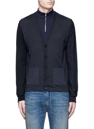 Main View - Click To Enlarge - Maison Margiela - Tri-colour wool cardigan