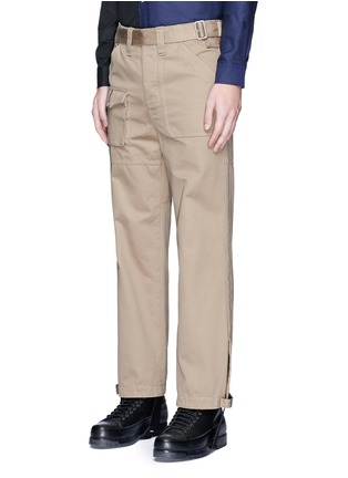 Front View - Click To Enlarge - Maison Margiela - Belted stirrup twill cargo pants