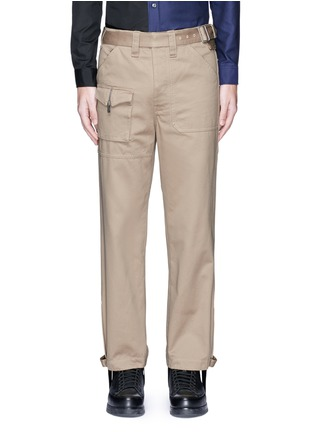 Main View - Click To Enlarge - Maison Margiela - Belted stirrup twill cargo pants