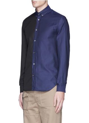 Front View - Click To Enlarge - Maison Margiela - Colourblock cotton poplin shirt