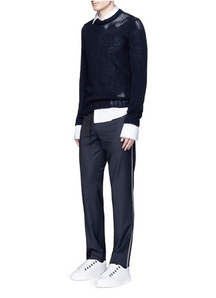 Figure View - Click To Enlarge - Maison Margiela - Topstitch outseam new wool jogging pants