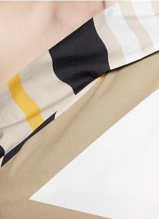 Detail View - Click To Enlarge - MSGM - Variegated stripe ribbon tie poplin top