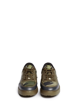 Figure View - Click To Enlarge - Valentino - Camouflage print leather canvas sneakers