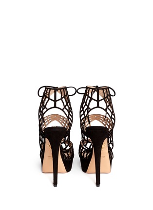 Back View - Click To Enlarge - Charlotte Olympia - 'Caught in Charlotte's Web' suede caged sandals
