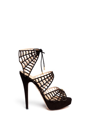 Main View - Click To Enlarge - Charlotte Olympia - 'Caught in Charlotte's Web' suede caged sandals