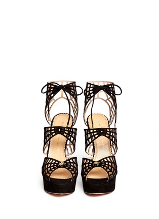 Figure View - Click To Enlarge - Charlotte Olympia - 'Caught in Charlotte's Web' suede caged sandals