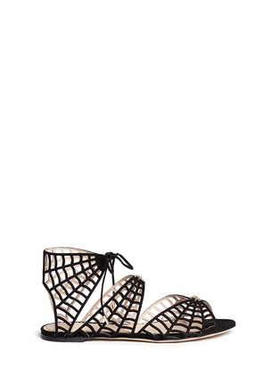 Main View - Click To Enlarge - CHARLOTTE OLYMPIA - 'Miss Muffet' caged suede flat sandals