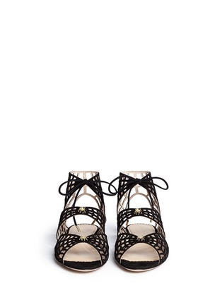 Figure View - Click To Enlarge - CHARLOTTE OLYMPIA - 'Miss Muffet' caged suede flat sandals