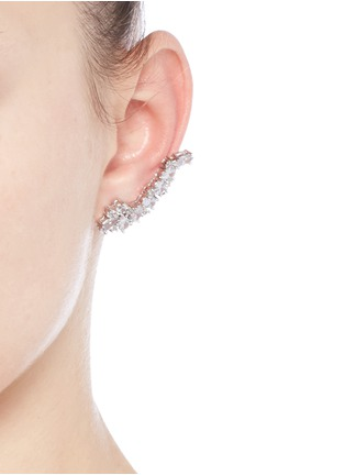 Figure View - Click To Enlarge - CZ by Kenneth Jay Lane - Cubic zirconia stud and climber earrings set