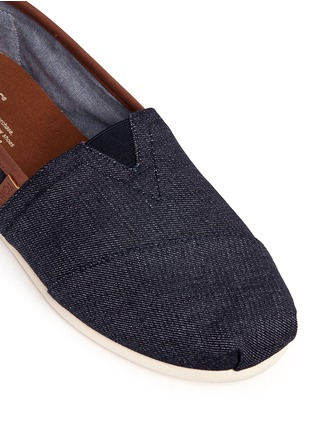 Detail View - Click To Enlarge - 90294 - 'Classic' leather trim denim slip-ons