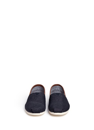 Front View - Click To Enlarge - 90294 - 'Classic' leather trim denim slip-ons