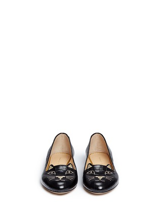 Front View - Click To Enlarge - Charlotte Olympia - 'Kitty' croc embossed leather flats