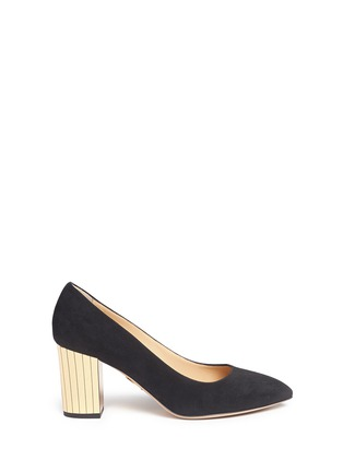 Main View - Click To Enlarge - Charlotte Olympia - 'Liz' metallic panelled heel suede pumps