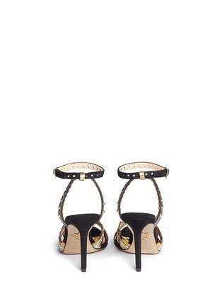 Back View - Click To Enlarge - Charlotte Olympia - 'High Gear' cog cutout metallic leather sandals