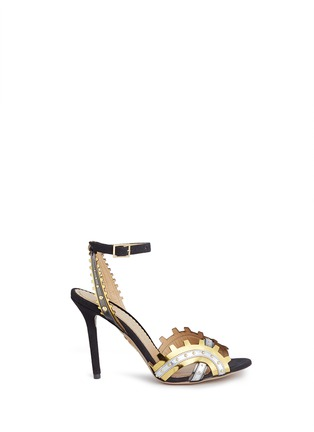 Main View - Click To Enlarge - CHARLOTTE OLYMPIA - 'High Gear' cog cutout metallic leather sandals