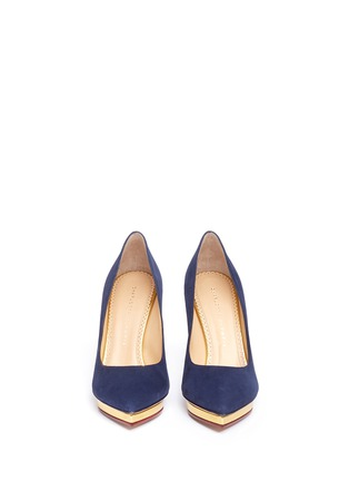 Front View - Click To Enlarge - Charlotte Olympia - 'Debbie' platform suede pumps