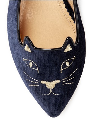 Detail View - Click To Enlarge - CHARLOTTE OLYMPIA - 'Mid-Century Kitty' velvet flats