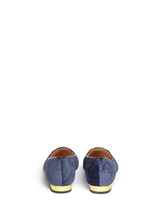 Back View - Click To Enlarge - CHARLOTTE OLYMPIA - 'Mid-Century Kitty' velvet flats