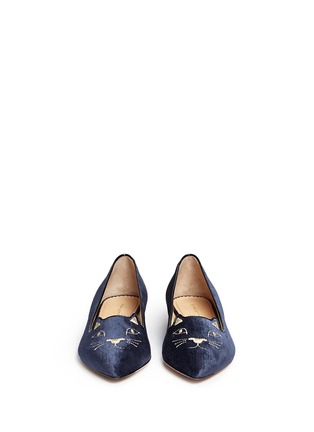 Front View - Click To Enlarge - CHARLOTTE OLYMPIA - 'Mid-Century Kitty' velvet flats