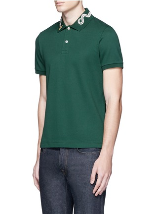 Front View - Click To Enlarge - Gucci - Snake and bee embroidery polo shirt
